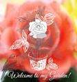 Ink hand drawn rose card vector image