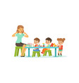 kindergarten group of little kids boys and girl vector image vector image