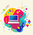 Laptop on abstract colorful spotted background vector image