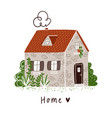 little stone bricks country house with plants and vector image vector image
