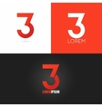 number three 3 logo design icon set background vector image vector image