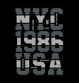 nyc typography design for t-shirt printing vector image vector image