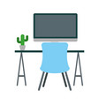 office workplace escene icon vector image