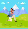 photographer shooting mountains photo vector image vector image