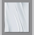 realistic white sheet crumpled paper vector image vector image