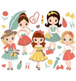 set with cute little girls in retro style vector image vector image