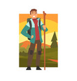 smiling man hiking in mountains with backpack and vector image vector image