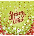Spring time letteringCherry flowersfalling heart vector image vector image