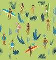 summertime seamless pattern people having fun on vector image