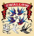 tattoo sparrow oldschool set vector image