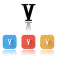 v roman numeral icons colored set with reflection vector image vector image