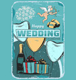 wedding ceremony vintage greeting card design vector image vector image