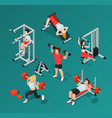 gym people icon set vector image