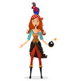funny surprised red-haired pirate girl holding vector image