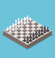 Isometric chess piece or chessmen with board vector image
