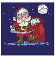 Santa Claus with big bags of gifts goes to you vector image
