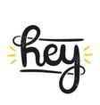type retro hipster slogan hey hand-drawn vector image