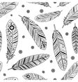 Vintage feathers pattern vector image