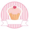 Cupcake button logo or wedding invitation card