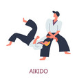 aikido fighting japanese sport fighters combat vector image
