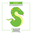 alphabet letter s and snake vector image vector image