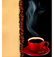 background with cup coffee and old paper vector image
