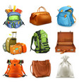 bags set backpack schoolbag suitcase sack 3d icon vector image vector image