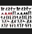baseball silhouette set vector image vector image