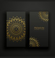 black and gold luxury mandala cards vector image vector image