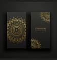 black and gold luxury mandala cards vector image