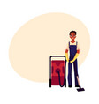 black cleaning service boy man in overalls vector image vector image