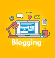 blogging concept on yellow background laptop with vector image vector image