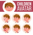 boy avatar set kid kindergarten face vector image vector image