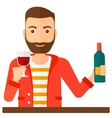 Cheerful man with bottle and glass vector image