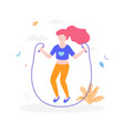 cute girl with jumping rope outdoors in the park vector image