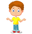 Doubtful young kid gesturing with hands vector image