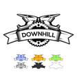 downhill motocros label design logo design vector image vector image