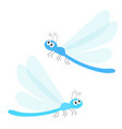 dragonfly icon set cute cartoon kawaii funny vector image vector image