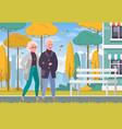 elderly people outdoor cartoon vector image vector image