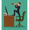 Farsighted businessman boss looks in a spyglass vector image vector image