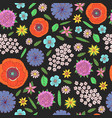 field flowers - seamless pattern doodle cartoon vector image
