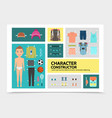 flat sport man character infographics vector image