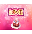 gold inscription love with glowing lamps and cake vector image