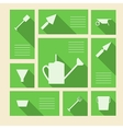 Green icons for gardening tools with place for vector image vector image