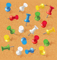 group of thumbtacks pinned on corkboard vector image
