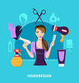 hairdresser flat composition vector image