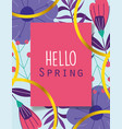 hello spring greeting card flowers ribbon vector image
