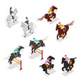 isometric equestrian sports - polo dressage vector image vector image