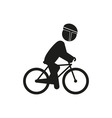 Male bicyclist riding bicycle isolated against vector image