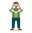 man with a beard looks at the big binoculars vector image vector image